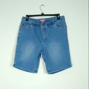 4/$30 Woman Within Denim Cuff Hem Bermuda Shorts